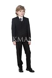 Детский черный костюм с увеличенной полнотой Stenser К98-3