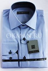 Клетчатая голубая приталенная рубашка Slim Fit Nino Pacoli