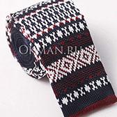 Вязаный галстук с узором в ирландском стиле бордово-белой и темно-синей расцветки