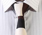 Вязаный галстук в полоску слонового, угольного и коричневого цветов