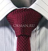 Вязаный галстук красно-бордового цвета