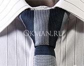 Вязаный галстук полосатый темно-синей и серой расцветки