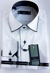 Комбинированная приталенная белая рубашка Lorrendo