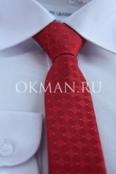 Красный галстук для подростка с готовым узлом
