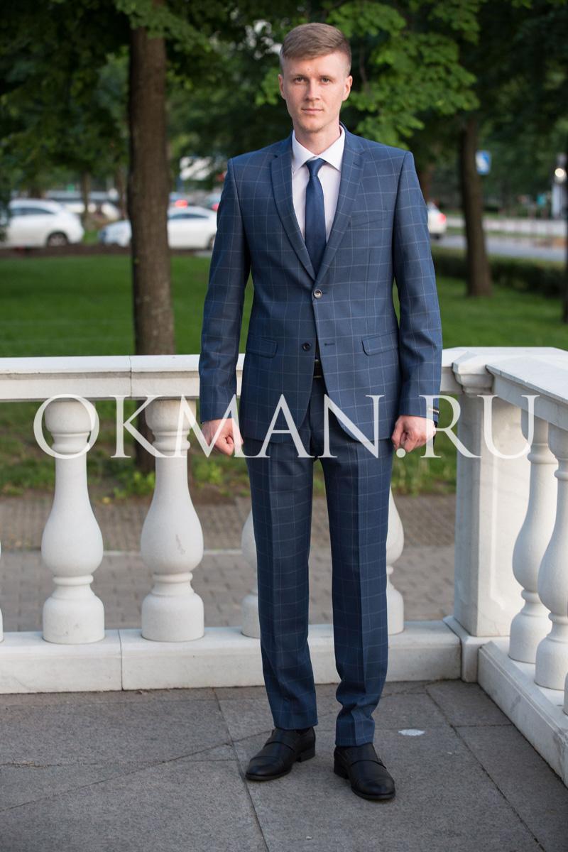 9c2aa13fda23 Приталенный мужской костюм темно-синего цвета в клетку Barkland Маркус