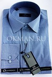 Стильная приталенная мужская рубашка в сине-белую клетку Lorrendo