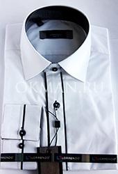 Нарядная приталенная белая рубашка Lorrendo