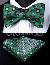 Зеленая бабочка-галстук с геометрическим узором