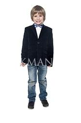 Велюровый детский пиджак темно-синего цвета