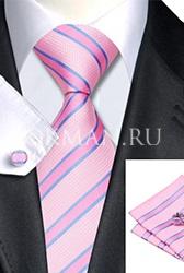 Подарочный набор (розово-cиреневого цвета галстук, платок и запонки)