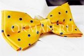 Бабочка-галстук желтая в горошек
