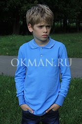 """Голубая рубашка """"Поло"""" для мальчика"""