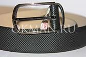 Мужской фактурный кожаный  ремень черно-серого цвета