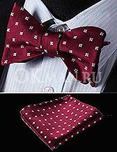 Бордовая мужская бабочка-галстук