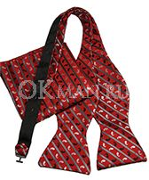 Красная бабочка-галстук + платок