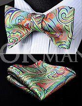 """Бабочка-галстук (самовяз) и платок с принтом """"пейсли"""" пастельных тонов"""