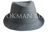 Серая с синими полосками детская шляпа