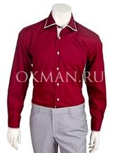 Красная приталенная рубашка с белым кантом