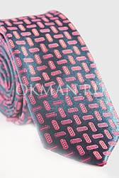 Мужской синий галстук с геометрическим рисунком красного цвета