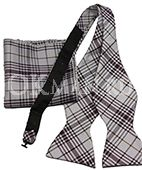 Сиреневая бабочка-галстук в клетку (плед) + платок