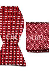 Красная бабочка-галстук в бело-чёрном горошке + платок