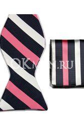Бабочка-галстук с чёрными белыми и красными полосами + платок