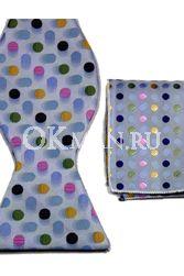 Синяя бабочка-галстук в разноцветный горошек + платок