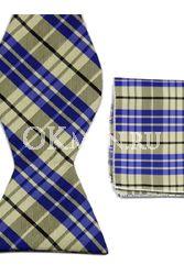 Бежевая бабочка-галстук с полосами сине-чёрного цвета + платок