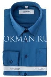 Темно-синяя детская, подростковая рубашка однотонная для мальчика Stenser С1004