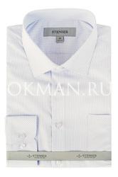 Детская белая рубашка в синюю клеточку Stenser C10