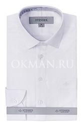 Детская фактурная белая рубашка в микроточку Stenser C3004