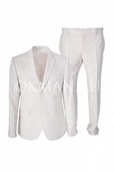 Белый приталенный мужской костюм Stenser К5142