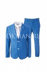 Голубой костюм приталенного силуэта К5143