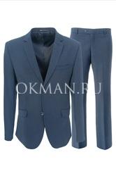 Молодежный приталенный синий костюм Stenser 5149