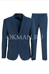 Идеальный синий приталенный костюм Stenser 5152