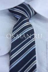 Темно-синий галстук в полоску для подростка с готовым узлом
