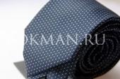 Темно-синий галстук Nino Pacoli в синию точку с штрихом
