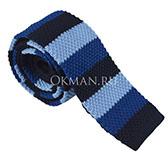 Вязаный галстук в полоску сине-голубой расцветки