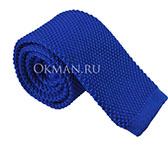 Вязаный галстук ярко-синего цвет