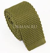 Вязаный галстук оливкового цвета