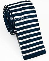 Вязаный галстук темно-синий в белую полоску
