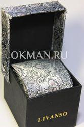 Галстук мужской серого цвета с оригинальным орнаметом