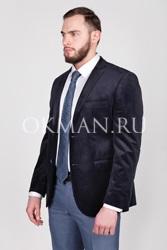 Велюровый темно-синий мужской пиджак Велор Barkland