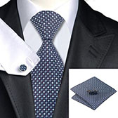 Подарочный набор (темно-синего цвета галстук, платок, запонки)
