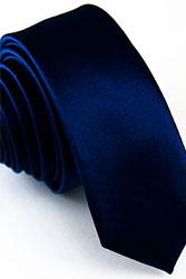 Узкий темно-синий галстук 5 см