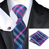Подарочный набор (яркого цвета галстук, платок, запонки)