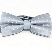 Бабочка-галстук серебристая в белую точку